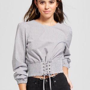Pin-stripe/silver tie poplin corset top - Medium